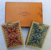Vintage 1940's Hermès Playing Cards France W/ Tax Stamp Gold Gilt Red Deck Open