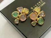 Joan Rivers Gold Tone Pastel Jelly Lucite Cab Gripoix Style Post Earrings