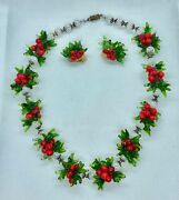 Vintage Murano Glass Christmas Holiday Necklace And Clip Earrings