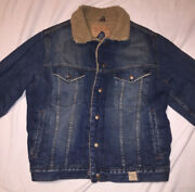 Abercrombie And Fitch Sherpa Lined - Trucker Denim Jacket 432-5j - Size Medium