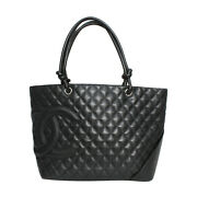 Bag Large Tote Cambon Line Black Silver Fittings 31350b