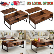 Lift-up Top Coffee Table W/hidden Storage Compartment And Shelf Living Room Table