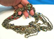 Vogue Jewelry Signed Vintage Necklace Gold Sterling Silver Rhinestone Dramatic