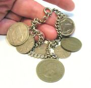 Sterling Silver Charm Bracelet Genuine Coins 3 Are Rare Irish Coins