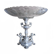 19th C Compote Germany 800 Silver And Cut Crystal W/ Winged Cherubs' C1886 10 5/8