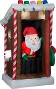 6ft Animated Christmas Inflatable Santa Outhouse Outdoor Holiday Decoration New