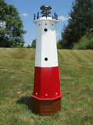 Well Pump Cover Wooden Lighthouse With Solar Light - 4 Ft Tall - Vermilion
