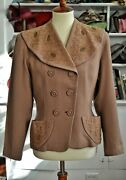 Vintage 1940and039s Brown Suit Jacket With Embroidery And Studs