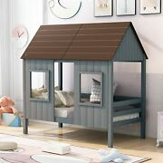 Merax Wood Twin Size Low Loft Bed House Bed With Windows And Guardrail For Kids