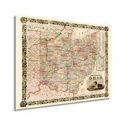 Historix Vintage 1851 State Of Ohio Map - 18x24 Inch Ohio State Vintage Map -...