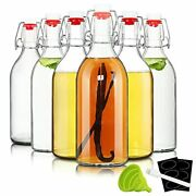 16oz Swing Top Bottles -glass Beer Bottle With Airtight Rubber Seal Flip Caps...