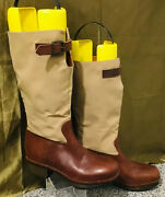 Vintage 1980s Italian Made Leather Canvas Riding Boots Us Size 6