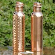 100 Pure Copper Water Bottle For Yoga Ayurveda Health Benefits 950 Ml Hammered