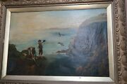 Antique Signed Oil On Canvas Painting Kids Stealing Bird Eggs Seaside 20 X 30