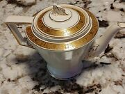 Very Rare Burgess And Leigh Burleigh Ware Teapot Hand Painted Gold Fast Shipping
