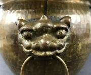 Chinese Hand Hammered Copper Incense Burner With Lion Head Handle 19th C 清锤揲铜香炉