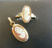Vintage Estate Gold Filled Cameo Ring And Pendant