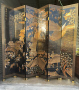 Vintage Chinese Six Panel Black And Gold Decorative Screen With Greek Key Border