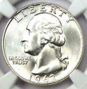 1962-d Washington Quarter 25c - Certified Ngc Ms67 - Rare In Ms67 - 8,750 Value