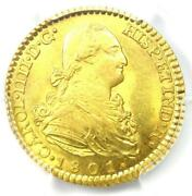 1801-m Spain Charles Iv 2 Escudos Gold Coin 2e - Certified Pcgs Ms63 Bu Unc