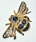 Joan Rivers Rare 18th Anniversary Sapphire And Clear Crystal Bee Pin Brooch Mint