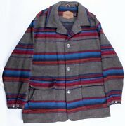 Vintage Woolrich Usa Made Southwest Style Wool Blanket Canvas Jacket Thick Sz Xl