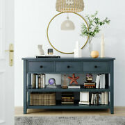 Merax Mid-century Solid Wood Console Table Side With Drawers Shelves Entryway