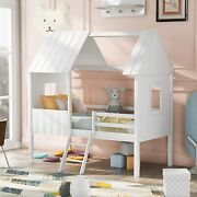 Merax Wood House Bed Twin Size Low Loft Bed With Windows Guardrail And Ladder