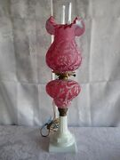 Fenton Lg Wright Daisy And Fern Cranberry Opalescent Glass 2 Parlor Banquet Lamps