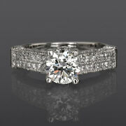 2 Carat Real Round Cut W Accents Diamond 14k White Gold Ladies Anniversary Ring