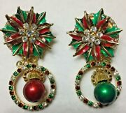 Vintage Lunch At The Ritz - Poinsettias Ball Post Earrings Christmas Dangle-new