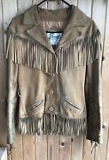 Bermanandrsquos Western Suede Leather Jacket With Fringe💛size 10-fits Small/medium