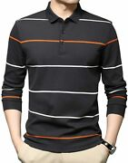 Womleys Mens Casual Striped Cotton Long Sleeve Collared T Shirt Polo Shirts