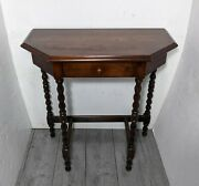 Antique English Half Moon Petite Console Table Bobbin Turned Legs Solid Wood