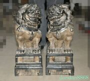 15.6 Chinese Stone Carved Evil Door Guardian Fu Foo Dog Lion Beast Statue Pair
