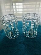 Twin Chandelier Crystal Candle Holders. Perfect Condition Used Once For Staging
