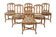 Set Of 6 Antique French Provincial Dining Chairs, Needlepoint Seats, 1920's, Oak