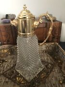 Vintage Italian Crystal Decanter With Gold Plated Handle And Boars Head Spout