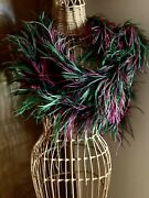Vintage Ostrich And Marabou Black Green And Fuchsia 7and039 Long Rare Color Combo