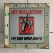 Vintage Get Real Action 7-up Your Thirst Away Large Square Electrical Wall Clock