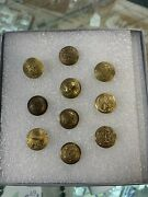 Vintage Civil War Coat Buttons Lot Of 10 Different States And Mfg- Jb3