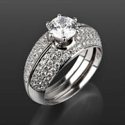 Bands Set Diamond Ring Lady Vs1 Round Cut 14k White Gold Flawless 2 Ct 6 Prong