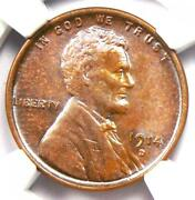 1914-d Lincoln Wheat Cent 1c Penny - Certified Ngc Uncirculated Detail Unc Ms