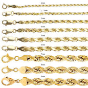 Brand New 14k Yellow Gold Rope Chain 2mm-9mm D/cut Twist Link Necklace 8-30