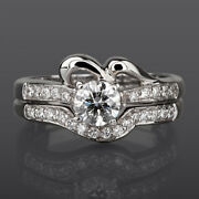 Round Shape Diamond Band Set Ring 14k White Gold 1.42 Ct Solitaire And Accents