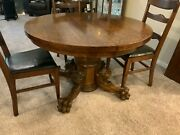 """Rare Antique Round Oak Claw Foot Dining Table 43"""" With 2 Leaves And 6 Chairs"""