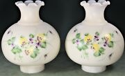 """Pair Oil Hurricane Milk Glass Lamp Shades Hand Painted Pansies,violets 3"""" Fitter"""