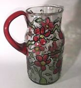 Vintage Hand Painted Flowers Mcm Clear Glass Beverage Pitcher