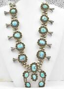 Vintage Native American Sterling Silver Wow Turquoise Squash Blossom Necklace