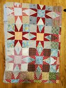 Vintage Star Cutter Quilt Well-worn, Pieced And Tied, Approximately 62 X 86